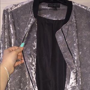 Forever 21 velvet bomber jacket